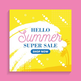 Hello summer super sale background. summer banner