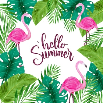 Hello summer surrounded by leaves and flamingo