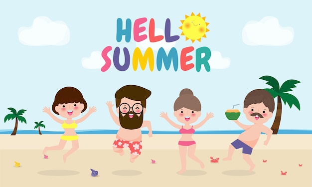 안녕하세요 여름 템플릿. 젊은 남자와 여자 점프에 재미있는 여름 시간
