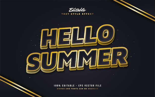 Hello summer text in black and yellow with embossed effect