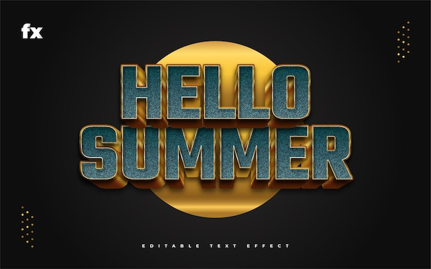 Hello summer text in blue and gold with embossed and textured effect. editable text style effect Premium Vector