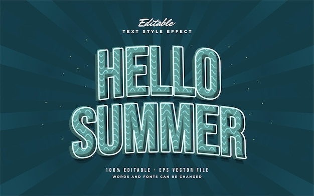Hello summer text in blue vintage style with curved effect. editable text style effect