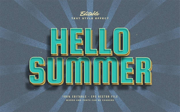 Hello summer text in blue and yellow with vintage style