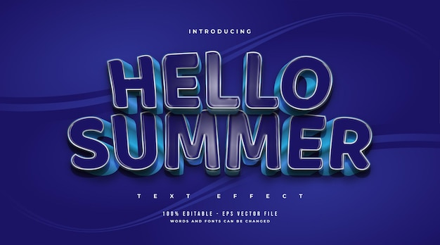 Hello summer text in bold blue with cartoon style and embossed effect. editable text effect