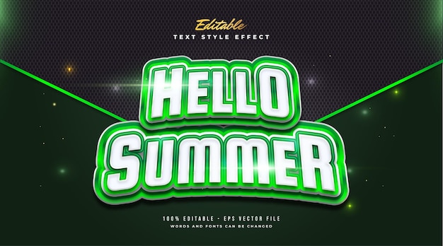 Hello summer text in bold green and white with curved effect. editable text style effect