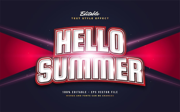 Hello summer text in in bold white and red with curved effect. editable text style effect