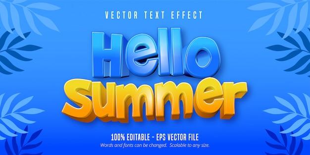 Привет, летний текст, редактируемый текстовый эффект в мультяшном стиле