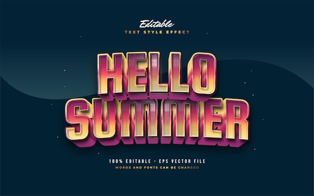 Hello summer text in colorful gradient with embossed effect. editable text style effect