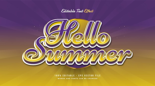 Hello summer text in colorful gradient with vintage style. editable text effect