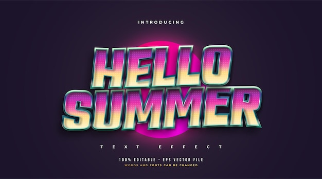 Hello summer text in colorful retro style with 3d embossed effect. editable text style effect