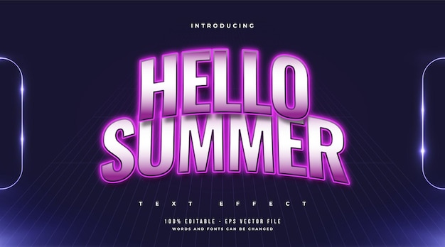 Hello summer text in colorful retro style with curved effect. editable text effect