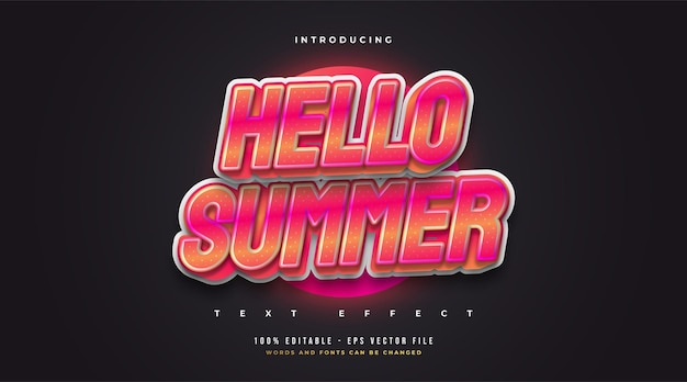 Hello summer text in colorful retro style with embossed and glitter effect. editable text style effect