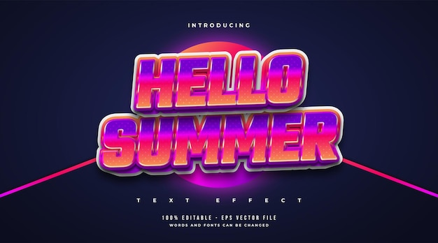 Hello summer text in colorful retro style with glowing effect. editable text effect