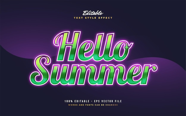 Hello summer text in colorful retro style with glowing effect. editable text style effect