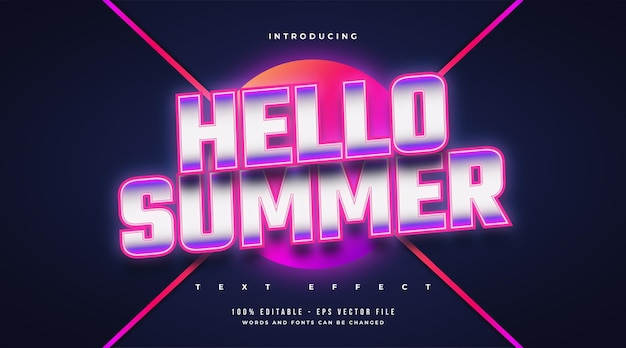 Hello summer text in colorful retro style with glowing neon effect. editable text effect