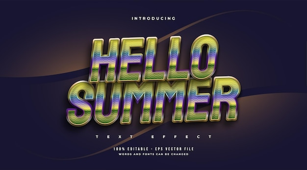 Hello summer text in colorful retro style with sparkling effect. editable text effect