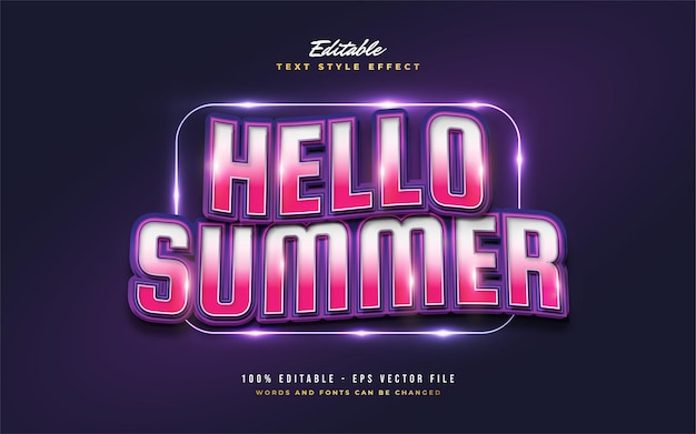 Hello summer text in colorful retro style with wavy effect. editable text style effect