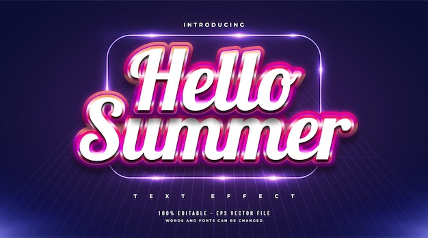 Hello summer text in colorful style with embossed effect. editable text effect