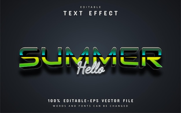 Hello summer text, editable style text effect