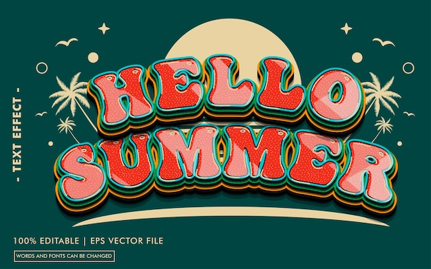 Hello summer text effect style