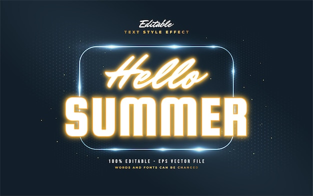 Hello summer text in glowing orange neon effect. editable text style effect