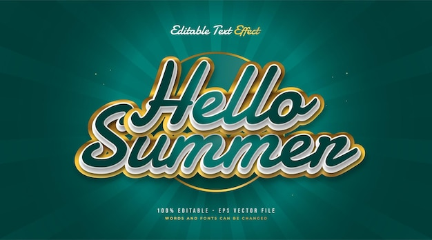 Hello summer text in green and gold with embossed effect. editable text effect