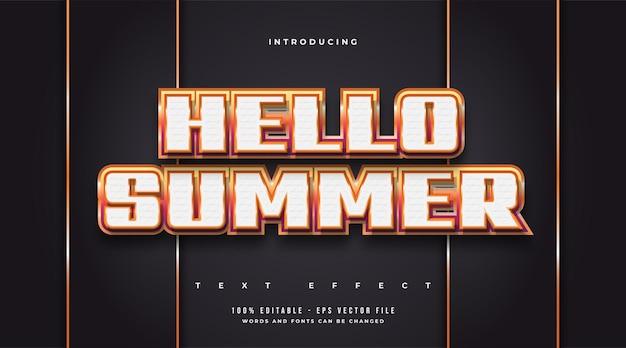 양각 효과가있는 다채로운 그라디언트 효과의 안녕하세요 여름 텍스트. 편집 가능한 텍스트 스타일 효과