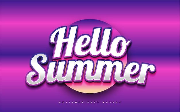 Текст hello summer в красочном градиенте с изогнутым эффектом. редактируемый эффект стиля текста