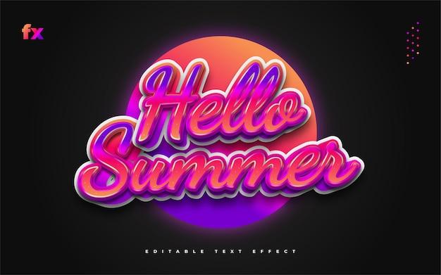 Текст hello summer в красочном градиенте с эффектом тиснения. редактируемый эффект стиля текста