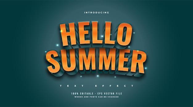 엠보싱 효과가있는 주황색과 파란색 만화 스타일의 안녕하세요 여름 텍스트. 편집 가능한 텍스트 효과