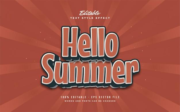 안녕하세요 빈티지 오렌지 스타일의 여름 텍스트. 편집 가능한 텍스트 효과