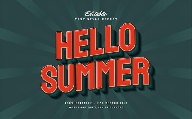 물결 효과가있는 빈티지 오렌지 스타일의 안녕하세요 여름 텍스트. 편집 가능한 텍스트 스타일 효과