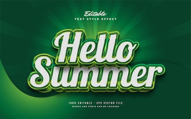 3d 엠보싱 효과가있는 흰색과 녹색의 안녕하세요 여름 텍스트. 편집 가능한 텍스트 효과