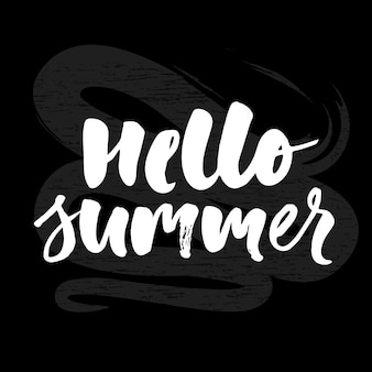 Hello summer text lettering calligraphy letters black chalkboard