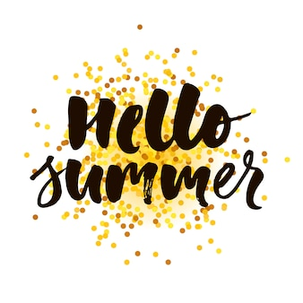 Hello summer text lettering calligraphy phrase gold