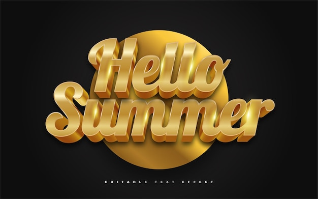 Hello summer text in luxury gold with 3d embossed effect. editable text style effect