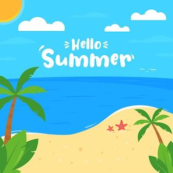 Привет летний текст на тропическом пляже