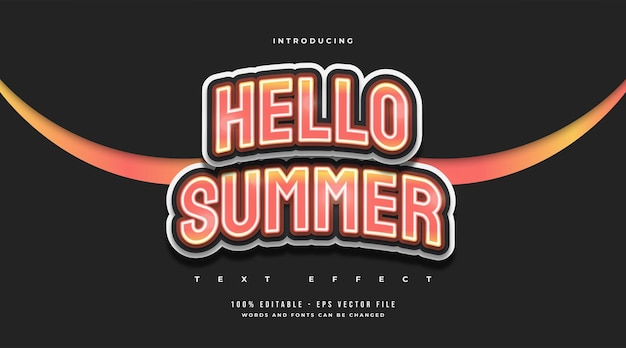 Hello summer text in orange gradient with curved effect. editable text effect