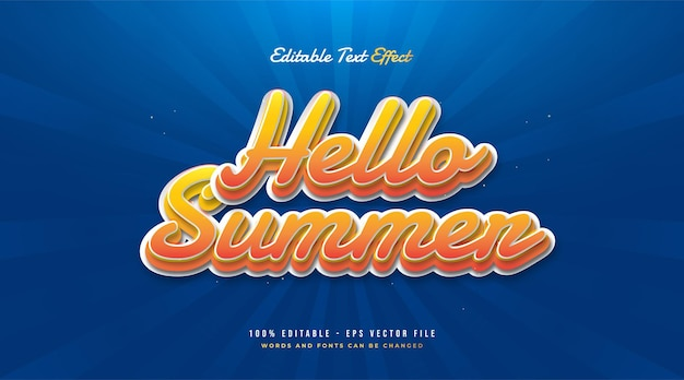 Hello summer text in orange and white with vintage style. editable text effect