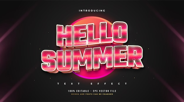 Hello summer text in red retro style with wavy effect. editable text style effect
