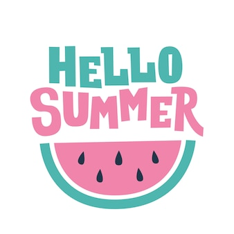 Hello summer text and watermelon card
