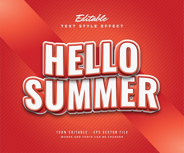 Hello summer text in white and red with wavy effect. editable text effect
