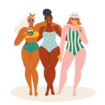 Привет, летнее время, пляжная иллюстрация в женщинах в купальниках