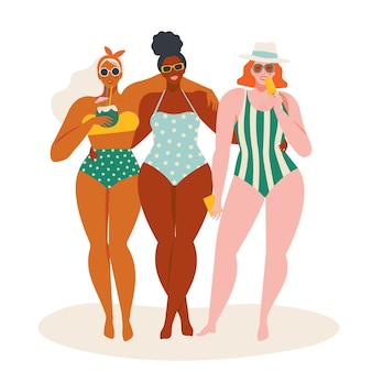 Hello summer time beach illustration in women in swimsuits