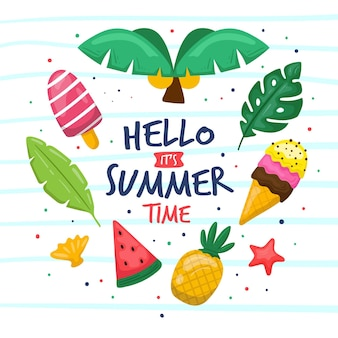 Hello summer time hand drawn