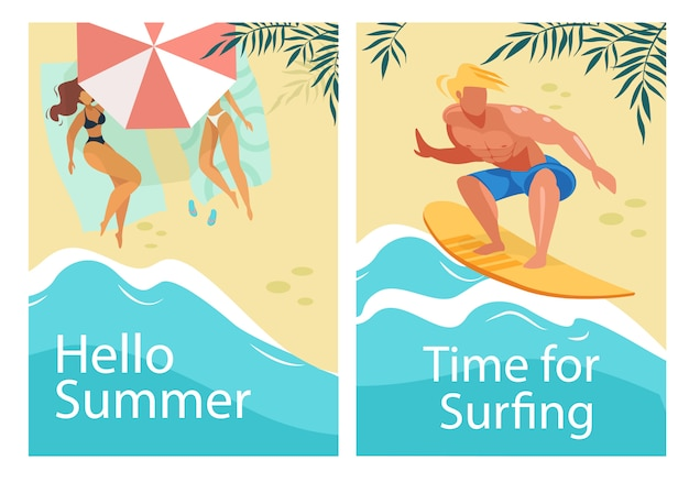 Hello summer and time for surfing vertical banners set