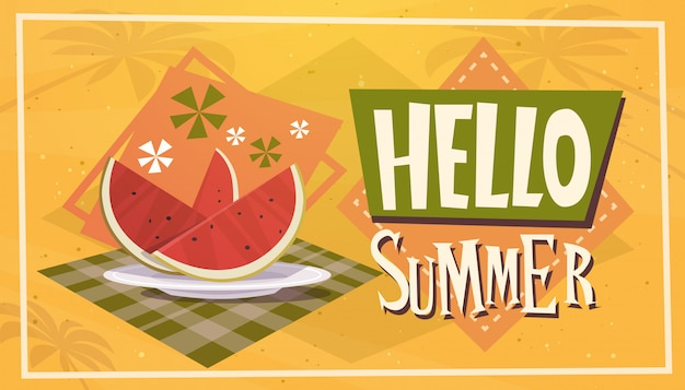Hello summer time watermelon vacation sea travel retro banner seaside holiday