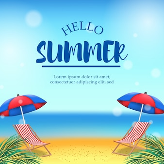 Hello summer time with beach landscape and text template