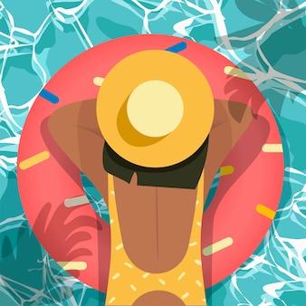 Hello summer, top view beach background