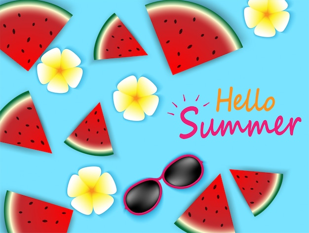 Hello summer top view on sun glasses , flower and watermelon on colorful pastels.